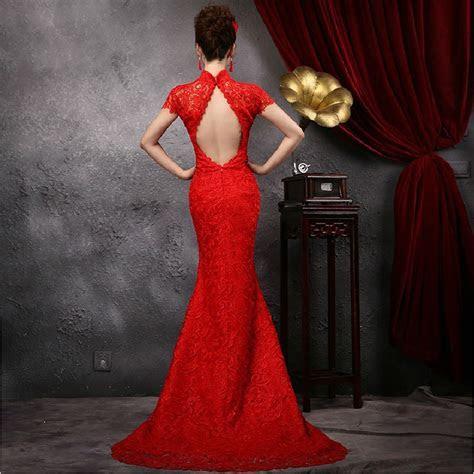 Aliexpress.com : Buy red lace mermaid backless cheongsam