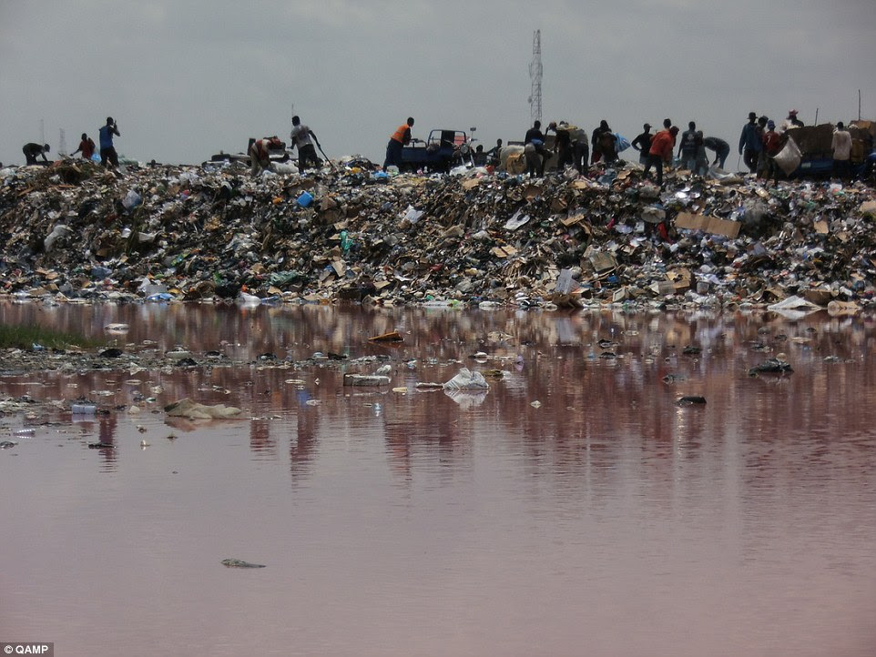 Damaging: The mountains of 'e-waste' that builds up in landfill sites such as Agbogbloshie (pictured) pollutes the local water and harms the health of the scavengers whose livelihoods depend on these broken goods