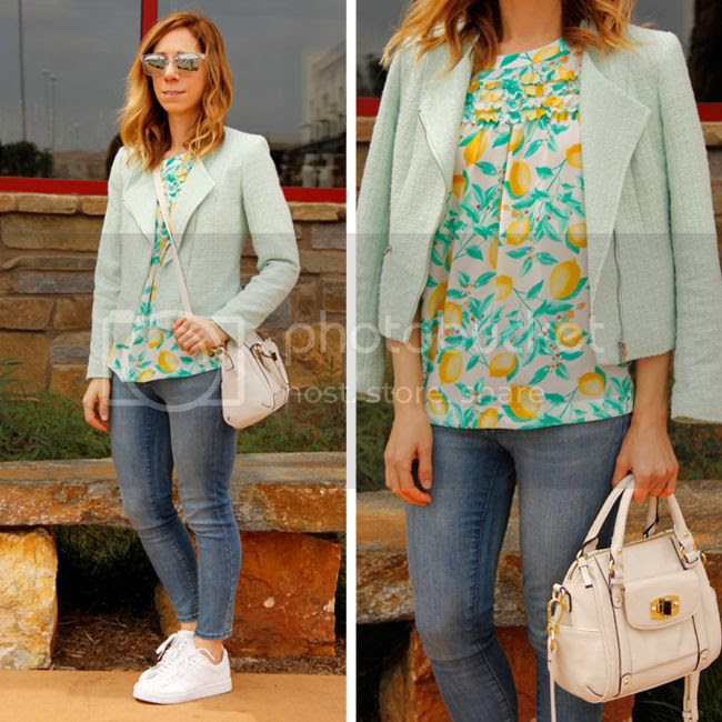 Fashion blogger The Key To Chic wears an Elle lemon print blouse, Old Navy Rockstar jeans, and Adidas sneakers