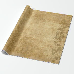 Beautiful Brown Vintage paper parchment and vines Wrapping Paper