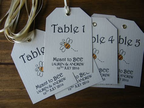 Personalised Wedding Table Number Name Tags MEANT TO BEE