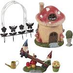 Juvale 7 Pcs Garden Gnomes & Mushroom House Miniature Figurines Ornament Set, Multicolor(Polyresin), Outdoor Décor