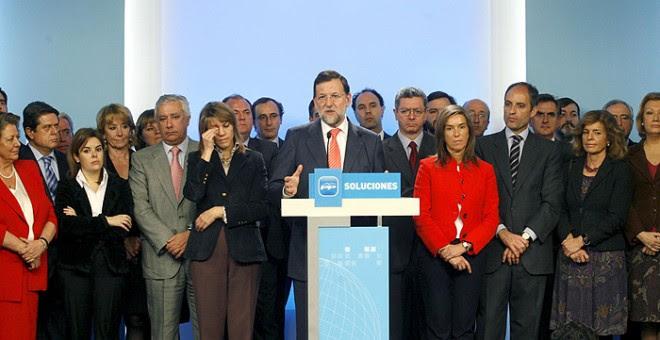 Rueda de prensa de Rajoy sobre Gürtel, en 2009. EFE