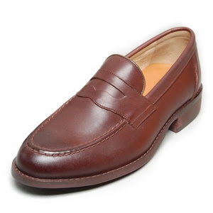Men's Apron Toe Brown Leather Penny Loafers Shoes