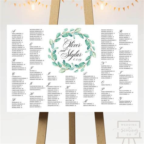 Green Wreath Wedding Seating Chart   6 Designs   Wedding