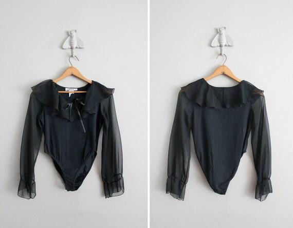 1980s vintage black sheer ruffled leotard