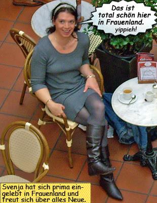 Svenja im Strickkleid mit Stiefeln im Frauenland Sophienhof
