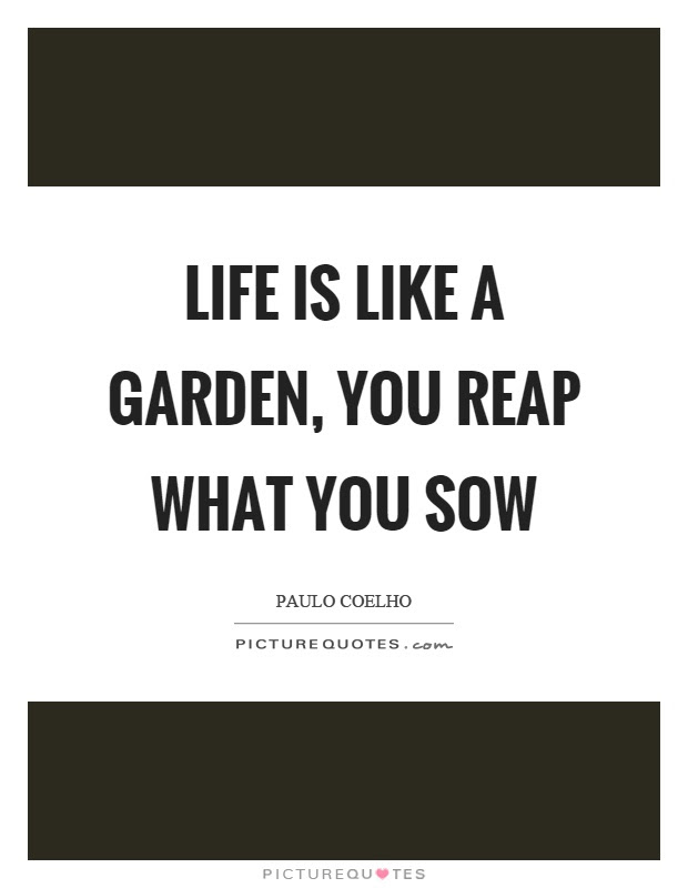 Life Is Like A Garden You Reap What You Sow Picture Quotes