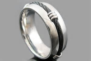 Rings : Mens stainless steel ring with black cable