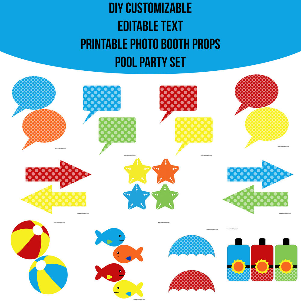 Instant Download Pool Party Diy Customizable Editable Text Prop Set