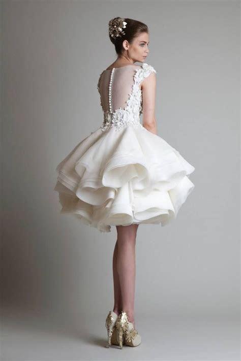 Cheap 2016 Krikor Jabotian Short Wedding Dresses Lace