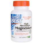 Doctor's Best High Absorption Magnesium 100% Chelated with Albion Minerals | 120 Tabs | Bone Health