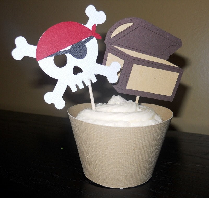 Customized Pirate Birthday party-cupcake wrappers and toppers