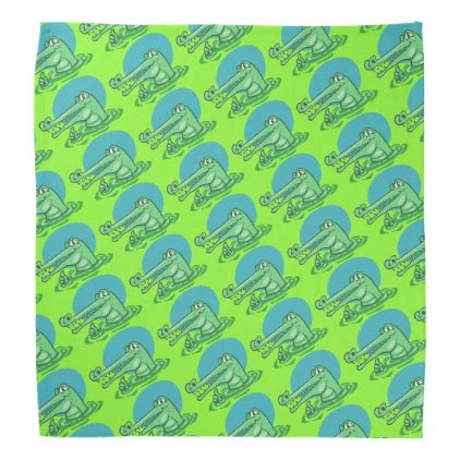 funny crocodile shown ok sign cartoon bandana