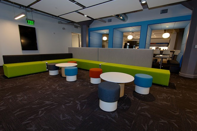 A bird relief pattern has been incorporated into the flooring of much of the meeting and recreational spaces, continuing the branding into social and fun zones nurtures the notion that this is a great company to be part of.
