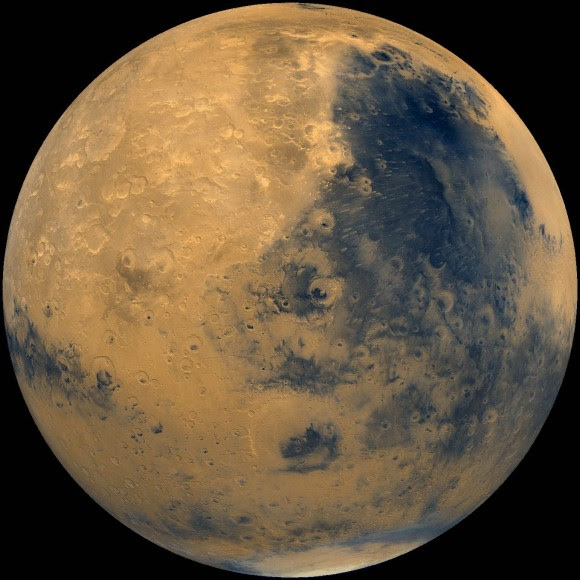 Global mosaic of Mars showing the dark basaltic Syrtis Major Planus region made from Viking Orbiter images. (NSSDC)