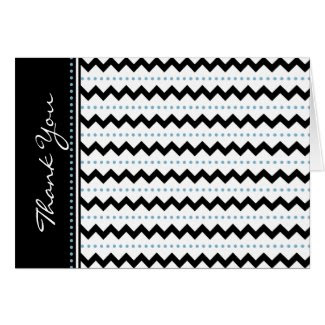 Modern Black Blue Chevron and Dots Thank You Card