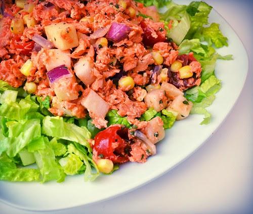 Chayote Salad w/ Salmon & Romaine