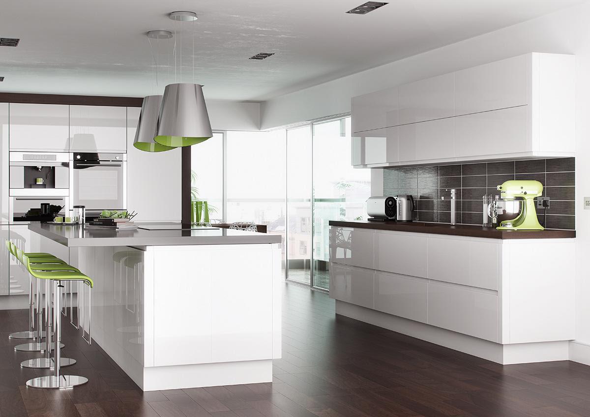 Bibury Gloss Pearl White High Gloss Kitchen Cabinet Doors