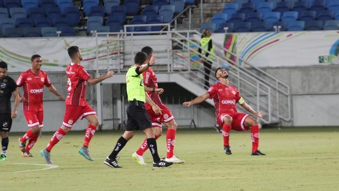 Gol de Gustavo - América-RN x ABC Série C Arena das Dunas (Foto: Fabiano de Oliveira)