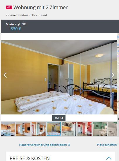 wohnung mit 2 zimmer 44137 dortmund mitte. Black Bedroom Furniture Sets. Home Design Ideas