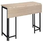 Sauder North Avenue Wood-Metal Dining Table With Drop Leaf in Black Charter Oak - 424943