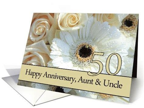 50th Anniversary card to Aunt & Uncle   Pale pink roses