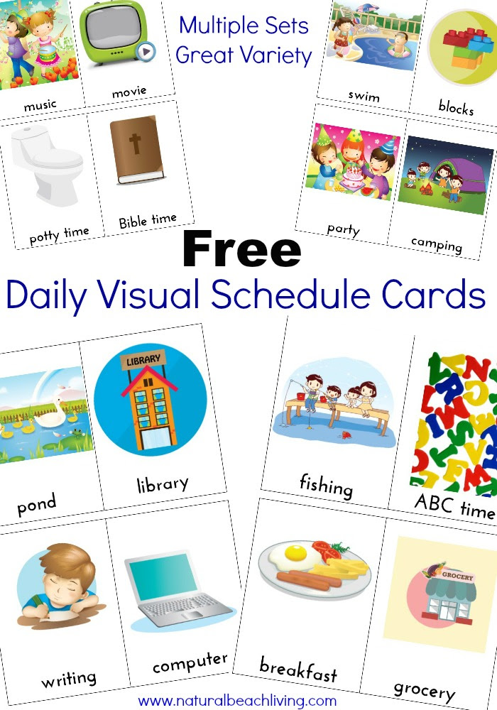 Extra Daily Visual Schedule Cards Free Printables - Natural Beach ...