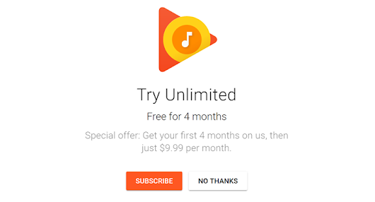 Google is now offering four free months of Google Play Music for new subscribers
