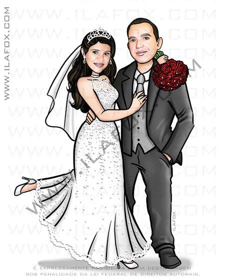 caricatura casal, caricatura sem exagero, caricatura noivinhos, caricatura para casamento, by ila fox