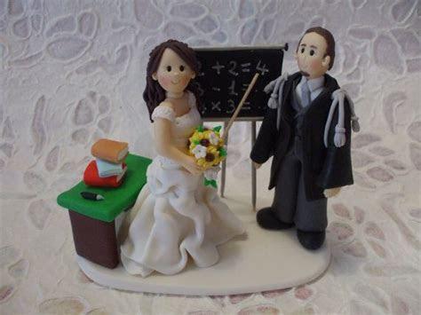 Custom teacher bride and lawyer groom wedding cake topper