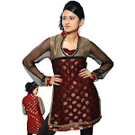 Rust colored viscose Kurti w/ net sleeves and neckline and collar.-Small
