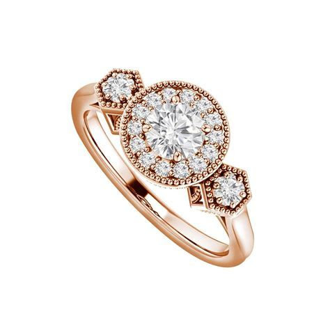 White Round Cubic Zirconia Engagement In 14k Rose Gold