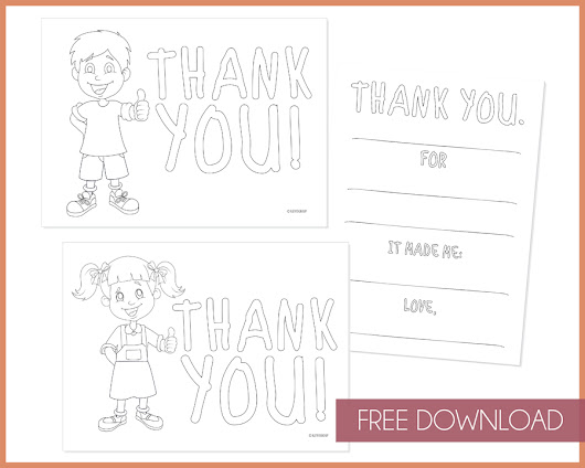 Free Download: Kids Color In Thank You Notes | KateOGroup