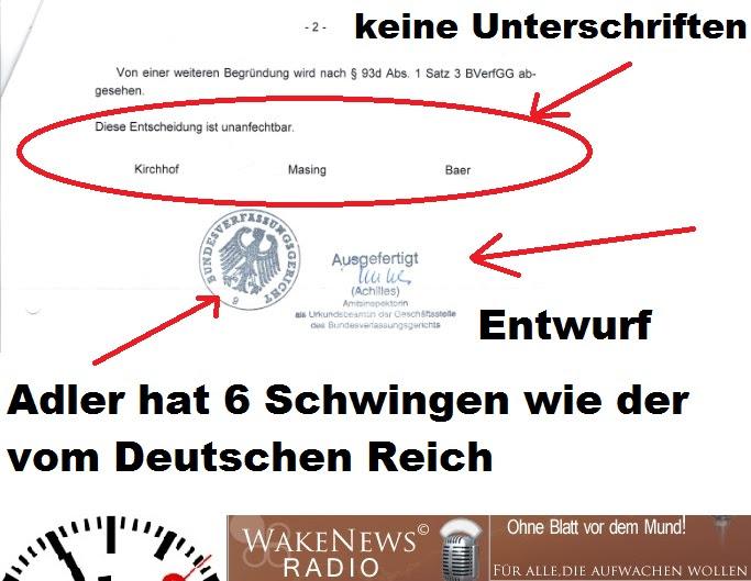Bundesverfassungsgericht Reichsadler ohne Unterschriften Entwurf