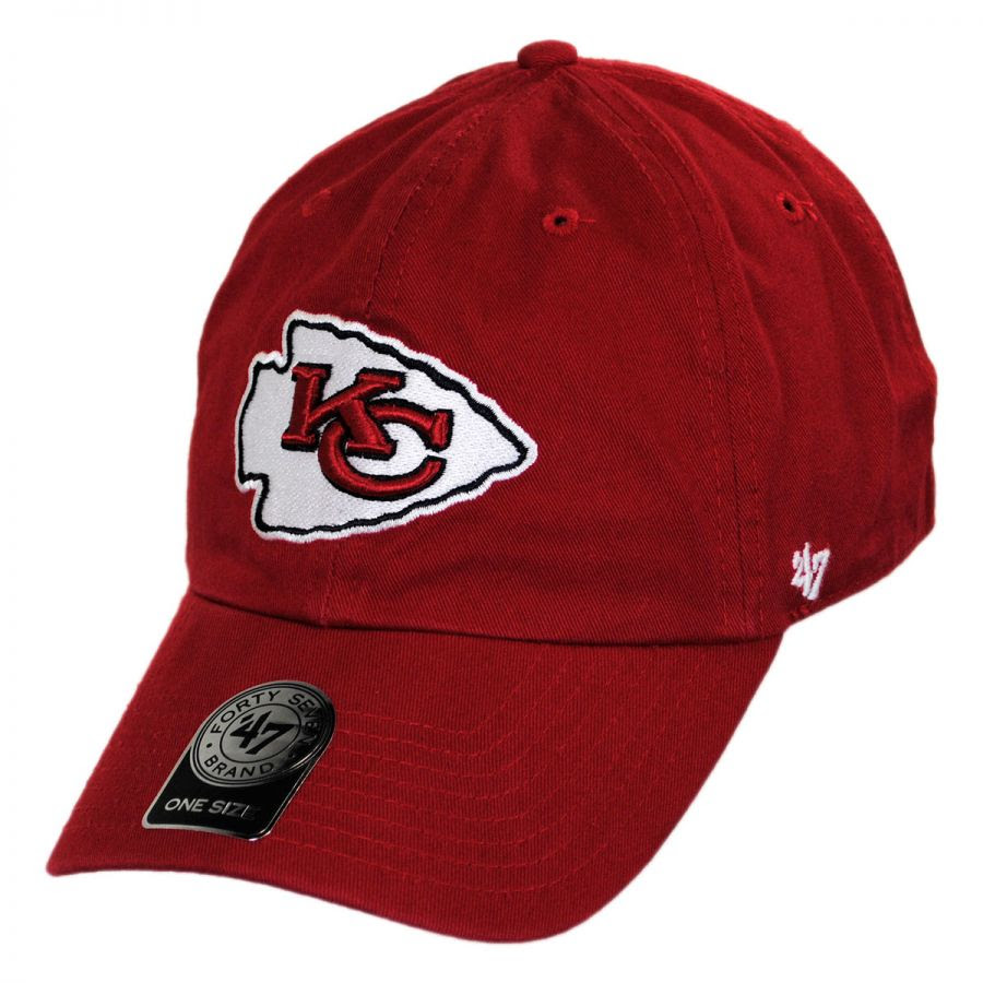47 Brand Kansas City Chiefs NFL Clean Up Strapback Baseball Cap NFL Football Caps