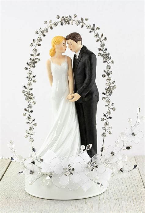 Bride and Groom Rhinestone Arch Wedding Cake Topper
