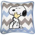 My Little Snoopy & Woodstock Blue/White/Gray Chevron Decorative Nursery Throw Pillow - Lambs & Ivy