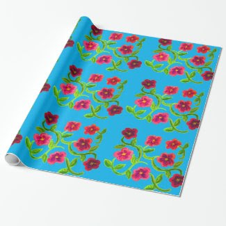 Petunia Flower Design on Wrapping Paper