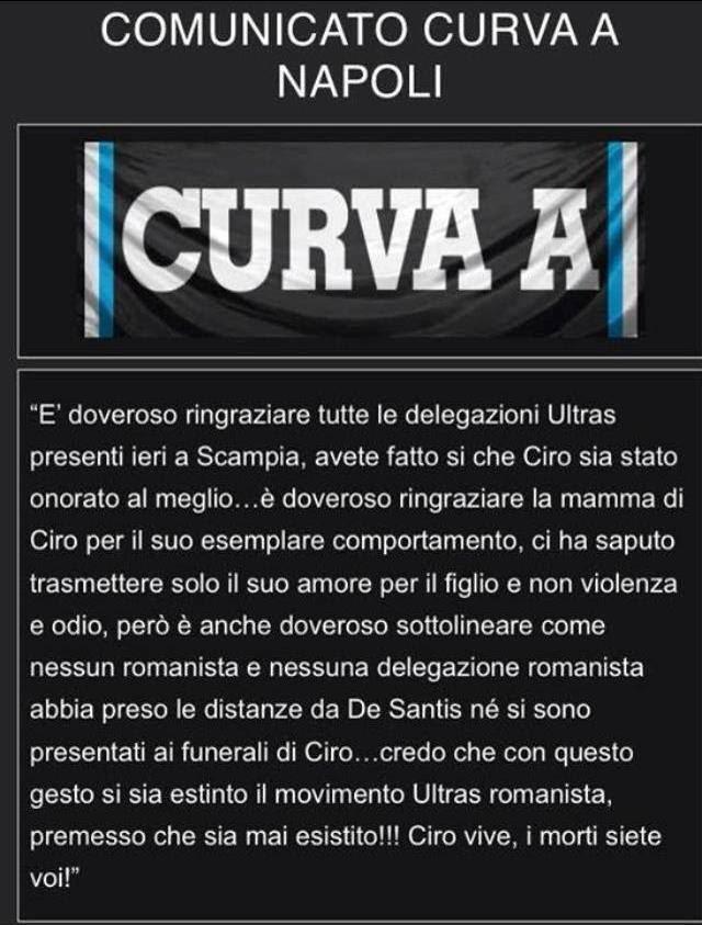 Comunicato Ufficiale Curva A Del Napoli Post Funerale Di Ciro Esposito