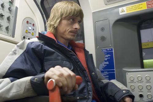 28 - Mackenzie in train holding brakes