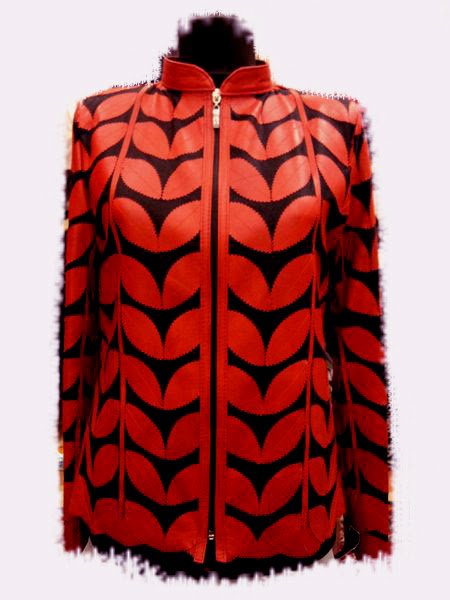 Red Leather Leaf Jacket for Women [ Click to See Photos ]