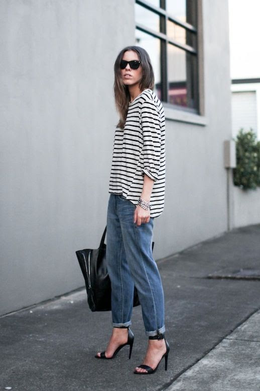 Le Fashion Blog Blogger Style Ray Ban Oversized Wayfarer Sunglasses Striped Tee Large Leather Tote Boyfriend Jeans Black Two Strap Heeled Sandals Via Modern Legacy