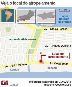 Mapa ciclista atropelado em Ipanema (Foto: Editoria de Arte/G1)