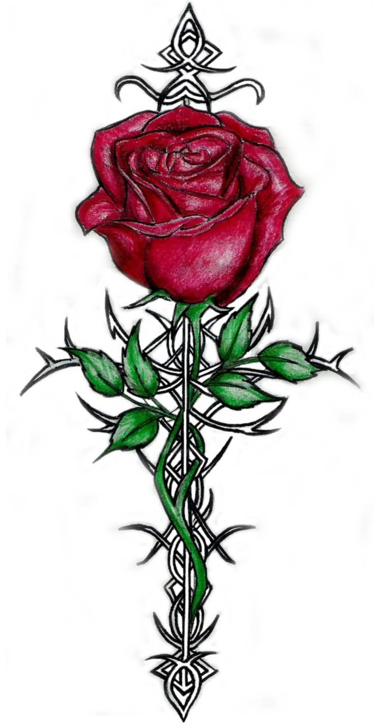 Cross With Rose And Vine Leaves Tattoo Design