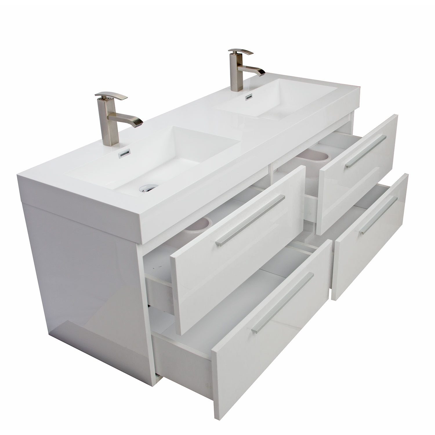 Buy 54 Inch Modern Double-sink Vanity Set with Drawers ...