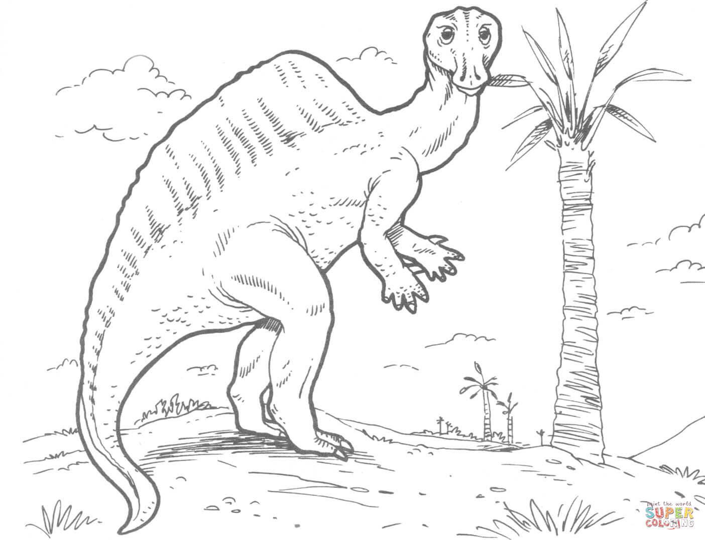 er sur la Ouranosaurus Dinosaure du Crétacé coloriages