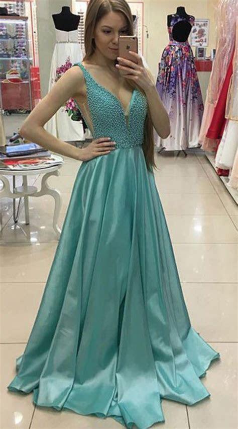 sexy deep  neckline blue green prom dress