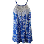 Inc International Concepts Blue White Crocheted Halter Top M