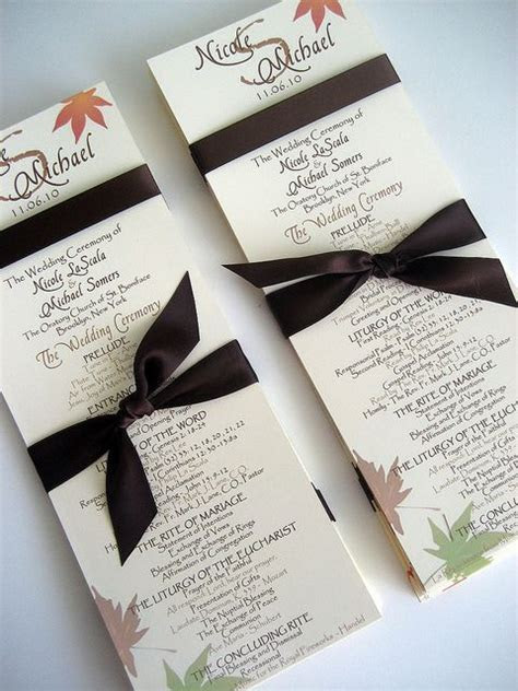 Fall Wedding Program Templates   Books Worth Reading